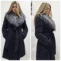 Женское зимнее пальто букле-кашемир Женя с воротником из искуственного меха