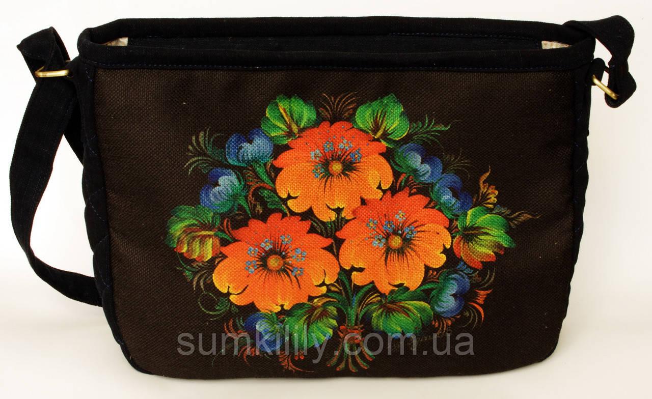 Женская стеганная сумочка Три цветка