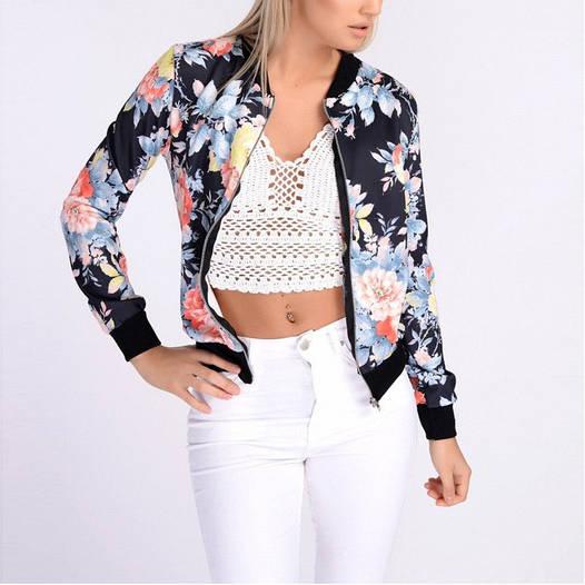 Женская летняя куртка с цветочным принтом D6690