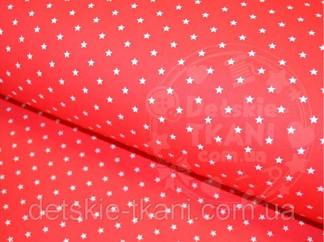 Отрез ткани №389а размером  63*160 см с белыми звёздочками 8 мм на красном фоне