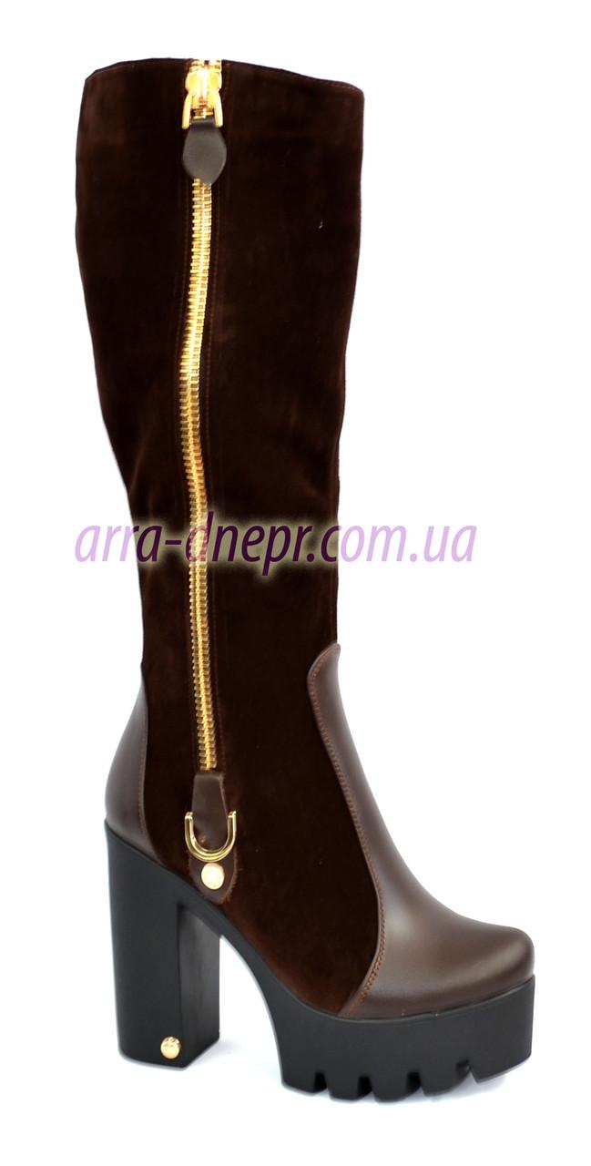 Сапоги женские замшевые на высоком каблуке. Зимние на меху