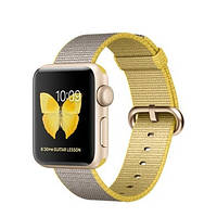 Apple Watch Sport Series 2 38mm Gold Aluminum Case with Yellow/Light Gray Woven Nylon Band