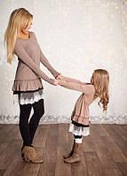Стильный набор мама и дочка туника с кружевом