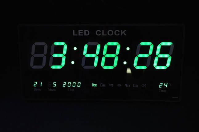 Часы большие светодиодные настенные с календарем и термометром, фото 2