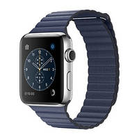 Apple Watch Series 2 42mm Stainless Steel Case with Midnight Blue Leather Loop Band