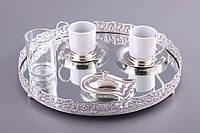 """Кофейный набор """"Кружево"""" 7 предметов (поднос, 2 чашки, сахарница, стакан для воды, 2 блюдца)"""