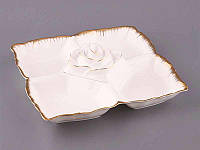 """Менажница 5-секционная 30х30 см. """"Лепестки розы"""" фарфоровая, белая с золотистым"""