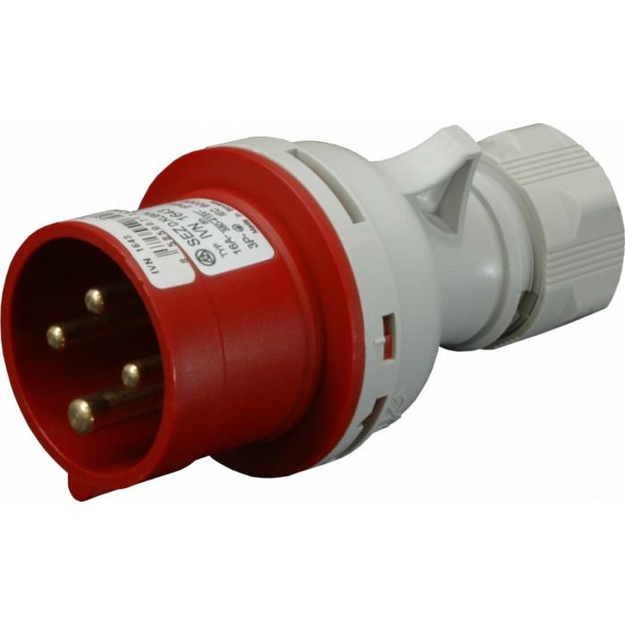 Штепсель (вилка) IVN  (IP 44), 32A, 400V, 4 полюса (IVN 3243)