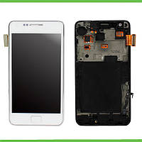 Дисплей Samsung i9000/9001 (Galaxy S) с сенсорным экраном и рамкой (белый)