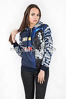 Женская толстовка на замочке с капюшоном синяя р.44-48  N28-1