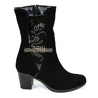 Женские зимние ботинки на невысоком каблуке, натуральная замша. 37 размер