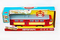 Игрушечный трамвай 9708: 4 вида, свет фар, подсветка салона, музыка, двери открываются, 3хAG13