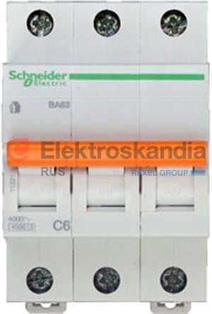 Автоматический выключатель ВА63 3П 6A C Schneider Electric