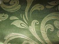 Ткань  блэкаут    катрин  завиток №3 оливка+золото
