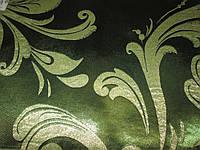 Ткань  блэкаут    катрин  завиток №11 зеленый+золото