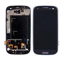 Дисплей Samsung i9300 (Galaxy S3) с сенсорным экраном и рамкой (синий)