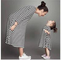 Стильный набор мама и дочка платье полоска