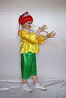 Детский костюм для мальчика Буратино  (атлас)  рубашка, штаны, шапка, нос.