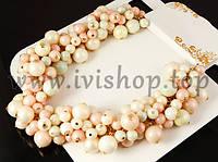 Бело-розовое ожерелье под золото,