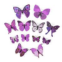 Интерьерная настенная наклейка «Бабочки» сиреневые, 3D бабочки