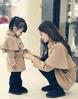 Изумительный набор пальто мама и дочка на пуговицах длинный рукав