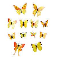 Интерьерная настенная наклейка «Бабочки» желтые, 3D бабочки