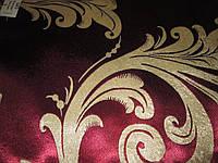Ткань  блэкаут    катрин  завиток №6 бордовый+золото