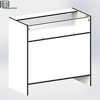 Прилавок торговый со стеклянной витриной 880х900х450мм