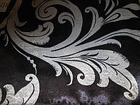 Ткань  блэкаут    катрин  завиток №12 черный+серебро
