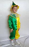 Детский костюм для мальчика Петрушка №2 (атлас) рубашка, штаны, шапка, съёмный воротник
