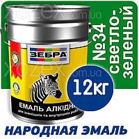 Зебра Краска-Эмаль ПФ-116 Светло-зеленая №34 12кг