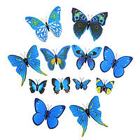 Интерьерная настенная наклейка «Бабочки» синие, 3D бабочки