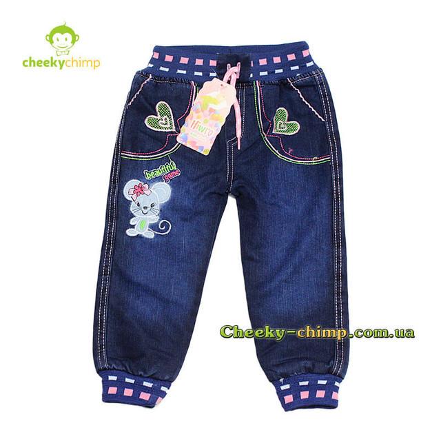 Теплые джинсы на девочку 6 мес ( махра)