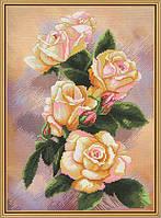 Набор для вышивания нитками на канве с фоновым рисунком Чайная роза СР 4207