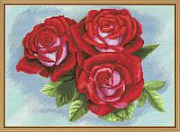 Набор для вышивания нитками на канве с фоновым рисунком Красная роза СР 4209