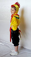 Детский костюм для мальчика Петушок №2 (атлас) рубашка, штаны, шапка, пояс