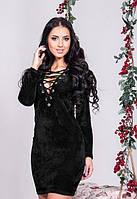 Черное короткое платье из бархата