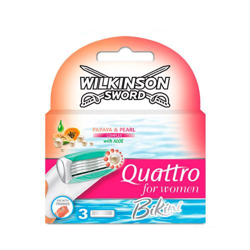 Wilkinson Sword Quattro Bikini сменные картриджи 3 шт в упаковке
