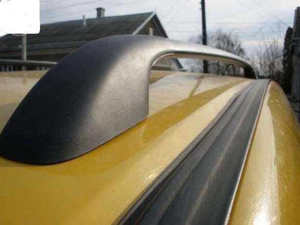 """Рейлинги Fiat Doblo 2000-2010, длинная база. Crown (тип skyport), сплошный алюминий, цвет """"Черный"""""""