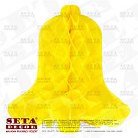 Жёлтый колокольчик из бумаги тишью для декора 31х30 см