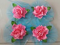 Цветы на ручки свадебного авто (розовая роза+бирюзовый фатин) 4 шт.