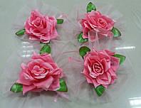 Цветы на ручки свадебного авто (розовая роза+розовый фатин) 4 шт.