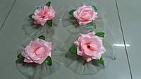 Цветы на ручки свадебного авто (розовая роза+салатовый фатин) 4 шт.