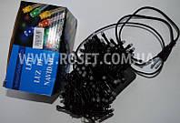 Гирлянда новогодняя нить (черный провод) мультицветовая 200 LED светодиодов 10 м