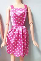 Платье розовое в горошек для куклы Барби и других кукол + тремпель