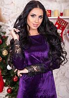 Фиолетовое платье из бархата с кружевом
