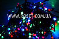 Гирлянда новогодняя нить (черный провод) мультицветовая 300 LED светодиодов 13 м