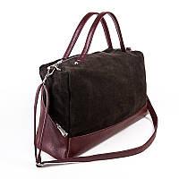 Большая бордовая сумка вставка коричневой замши