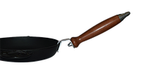 """Сковорода чугунная ТМ Термо,200*35 мм с декоративными литыми ручками """"Овощи"""" и со съемной деревянной ручкой"""