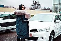 Парка с мехом финского песца длина 90см, 46р. в наличии. Украинское производство.